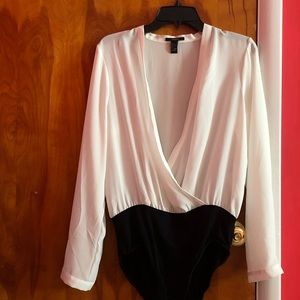 Long sleeve surplice bodysuit